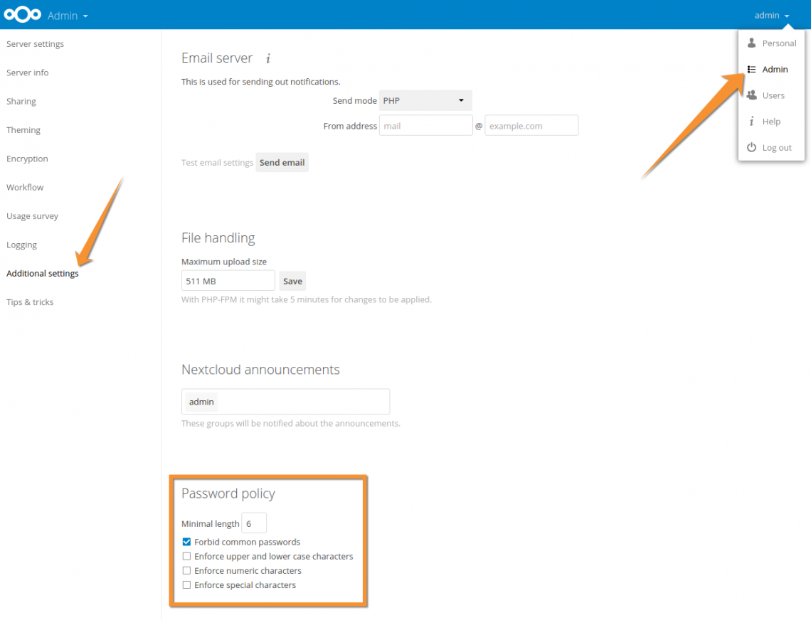 Screenshot Nextcloud password policy